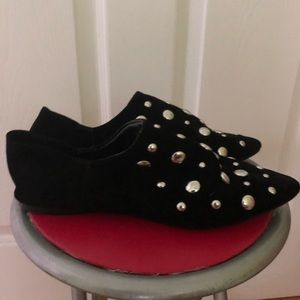 URBAN OUTFITTERS Black suede, metal studded shoes